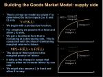 building the goods market model supply side