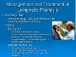 management and treatment of lymphatic filariasis