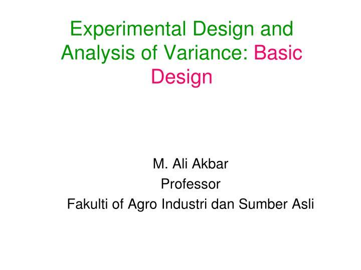 experimental design and analysis of variance basic design n.