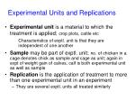experimental units and replications