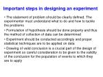 important steps in designing an experiment