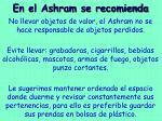 en el ashram se recomienda