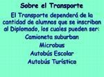 sobre el transporte