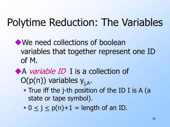 Polytime Reduction: The Variables