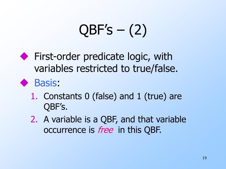 QBF's – (2)