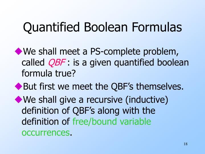 Quantified Boolean Formulas