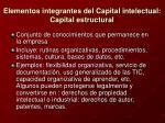 elementos integrantes del capital intelectual capital estructural