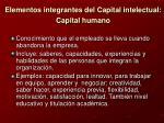 elementos integrantes del capital intelectual capital humano