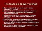 procesos de apoyo y rutinas