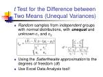 t test for the difference between two means unequal variances