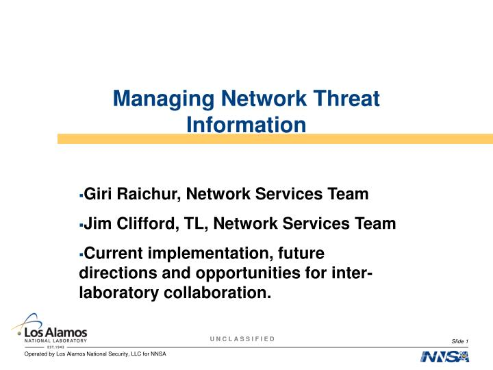 managing network threat information n.