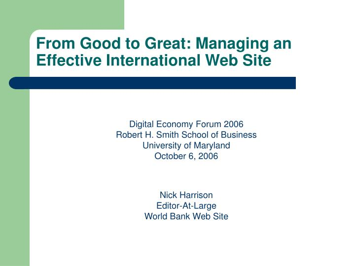 from good to great managing an effective international web site n.