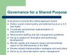 governance for a shared purpose