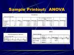 sample printout anova