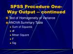 spss procedure one way output continued