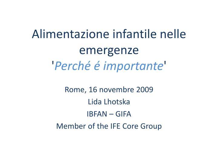 alimentazione infantile nelle emergenze perch importante n.