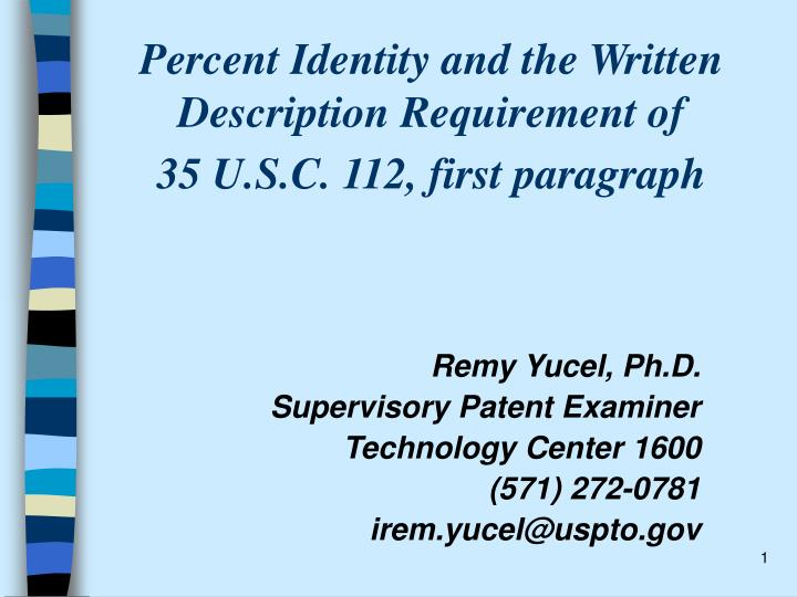 percent identity and the written description requirement of 35 u s c 112 first paragraph n.