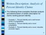 written description analysis of percent identity claims