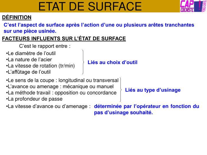 etat de surface n.