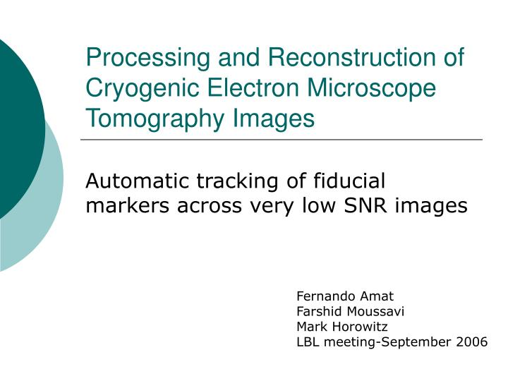 processing and reconstruction of cryogenic electron microscope tomography images n.