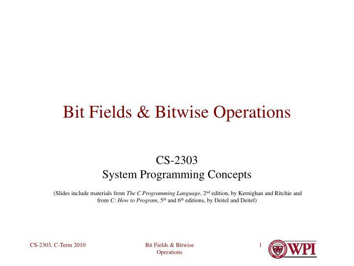 bit fields bitwise operations n.