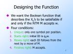 designing the function