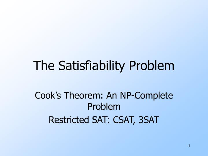 the satisfiability problem n.