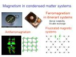 ferromagnetism in itinerant systems