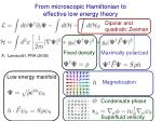 from microscopic hamiltonian to effective low energy theory