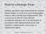 need for a strategic focus