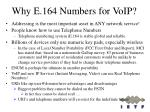 why e 164 numbers for voip