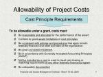 allowability of project costs