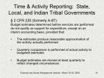time activity reporting state local and indian tribal governments