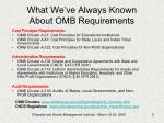 what we ve always known about omb requirements