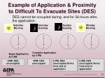 example of application proximity to difficult to evacuate sites des