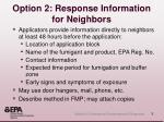 option 2 response information for neighbors
