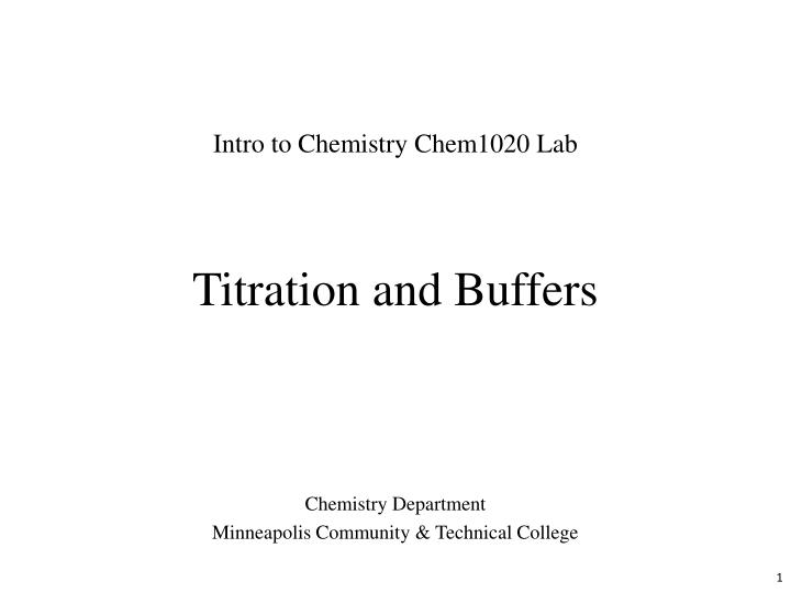 titration and buffers n.