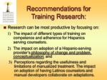 recommendations for training research