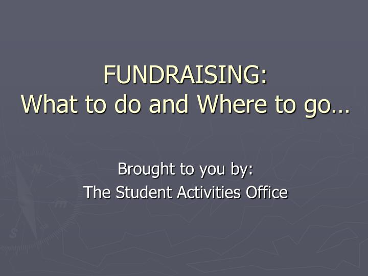 fundraising what to do and where to go n.