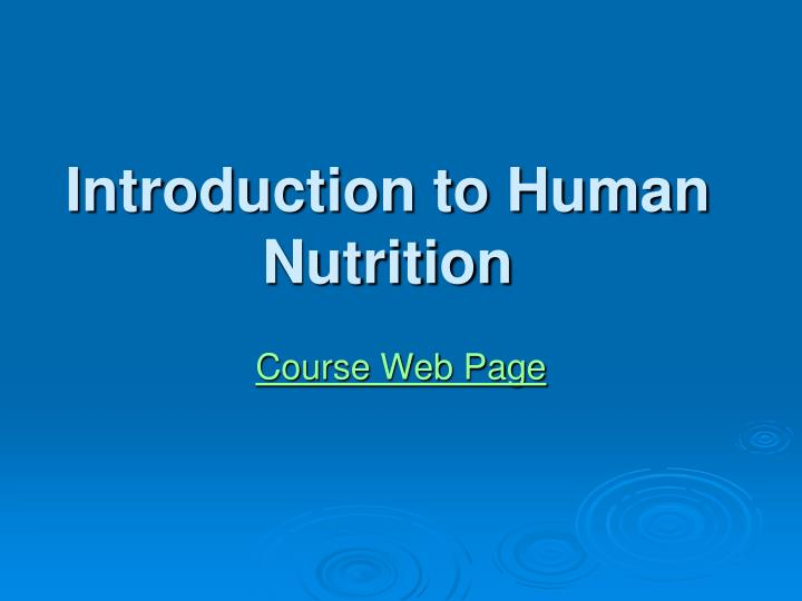 introduction to human nutrition n.