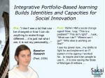 integrative portfolio based learning builds identities and capacities for social innovation
