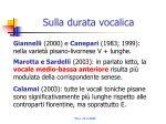 sulla durata vocalica