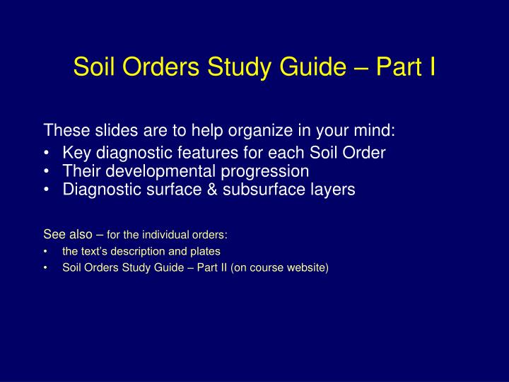 soil orders study guide part i n.