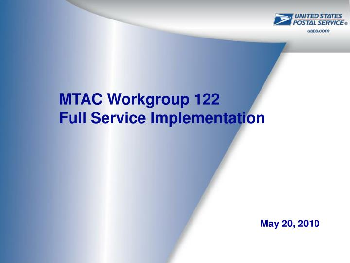 mtac workgroup 122 full service implementation n.