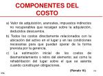 componentes del costo