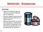 definici n existencias