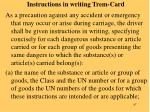 instructions in writing trem card