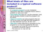 what kinds of files are included in a typical software product