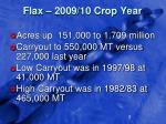 flax 2009 10 crop year