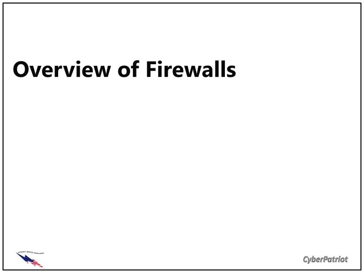 overview of firewalls n.